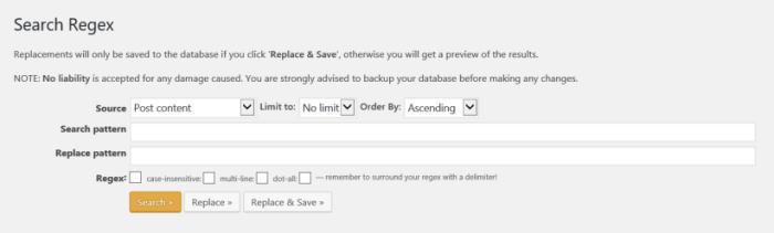 ワードプレス Search Regex 入力画面