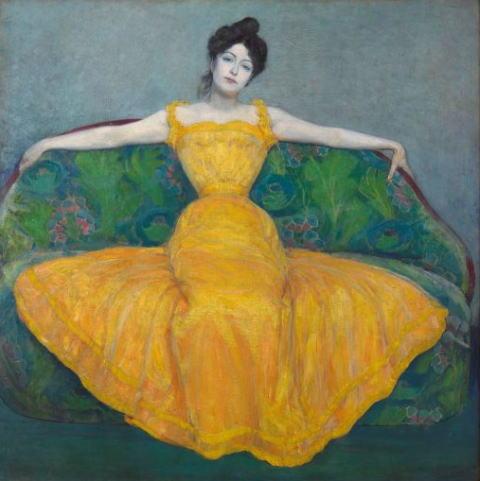 マクシミリアン・クルツヴァイル 黄色いドレスの女性