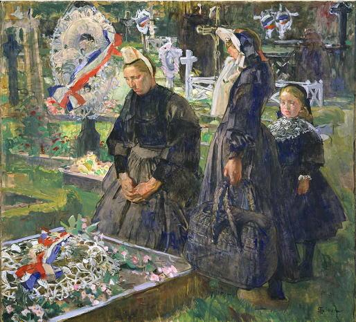 リュシアン・シモン 墓地のブルターニュの女たち
