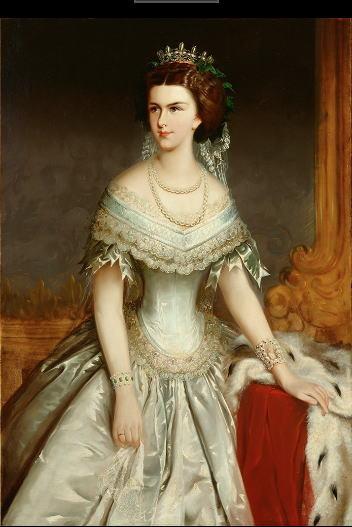 薄い青のドレスの皇妃エリザベト