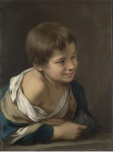 ムリーリョ 窓枠に身を乗り出した農民の少年