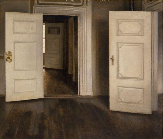 ハマスホイ 室内 開いた扉、ストランゲーゼ30番地