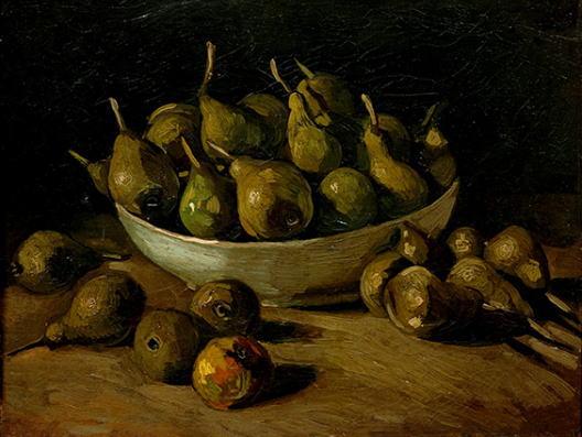 陶器と洋梨のある静物 フィンセント・ファン・ゴッホ