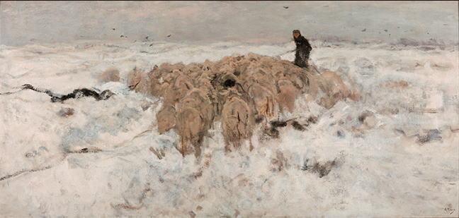 雪の中の羊飼いと羊の群れ アントン・マウフェ