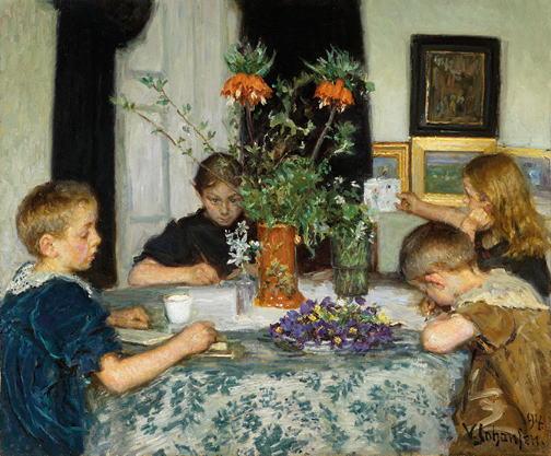 ヴィゴ・ヨハンスン 春の草花を描く子供たち