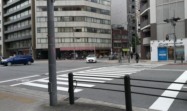 土佐堀通りを渡ります