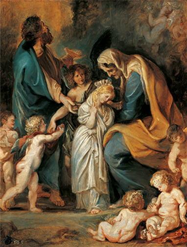 ペーテル・パウル・ルーベンス「聖母を花で飾る聖アンナ」