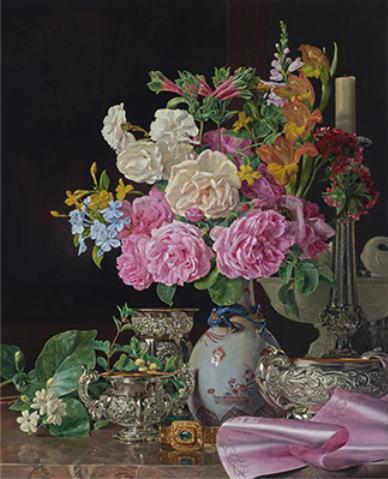 フェルディナント・ゲオルク・ヴァルトミュラー「磁器の花瓶の花、燭台、銀器」