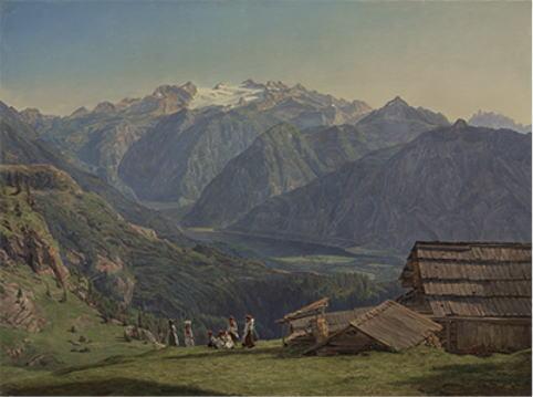 フェルディナント・ゲオルク・ヴァルトミュラー「イシュル近くのヒュッテンエック高原からのハルシュタット湖の眺望」