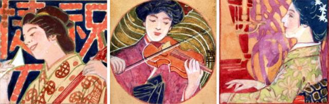 藤島武二「三味線」「ヴァイオリン」「ピアノ」